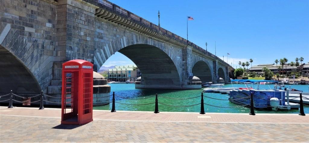 London Bridge in Arizona with a British telephone booth.