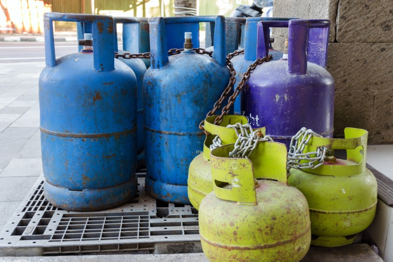 Empty propane tanks lined up.