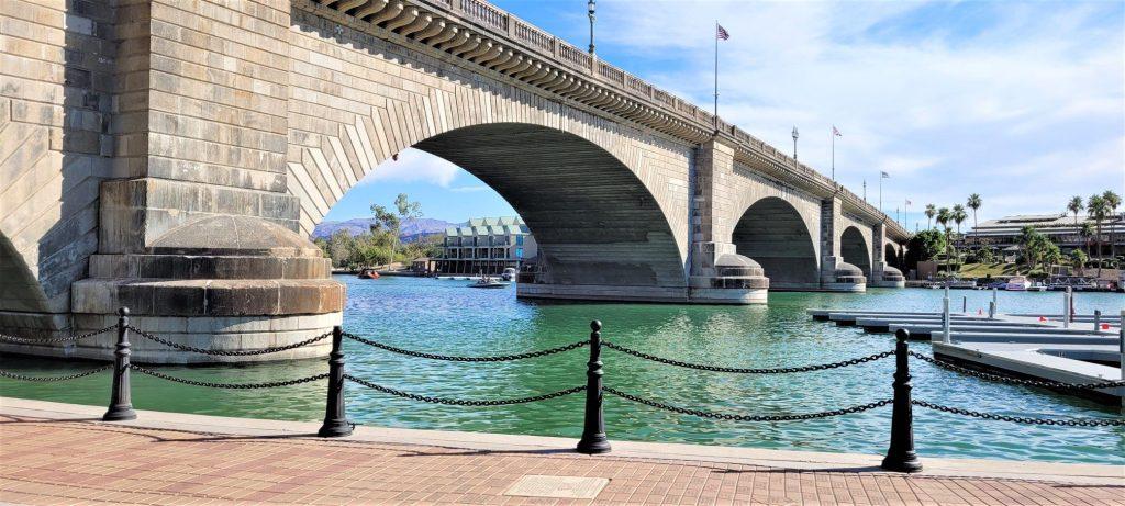 Along the water next to the London Bridge in Arizona.