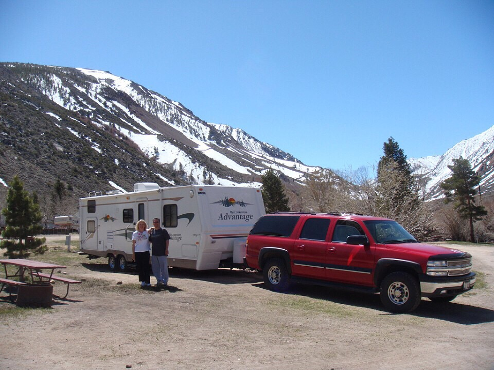 Couple posing in front of their RV in snowy mountains.