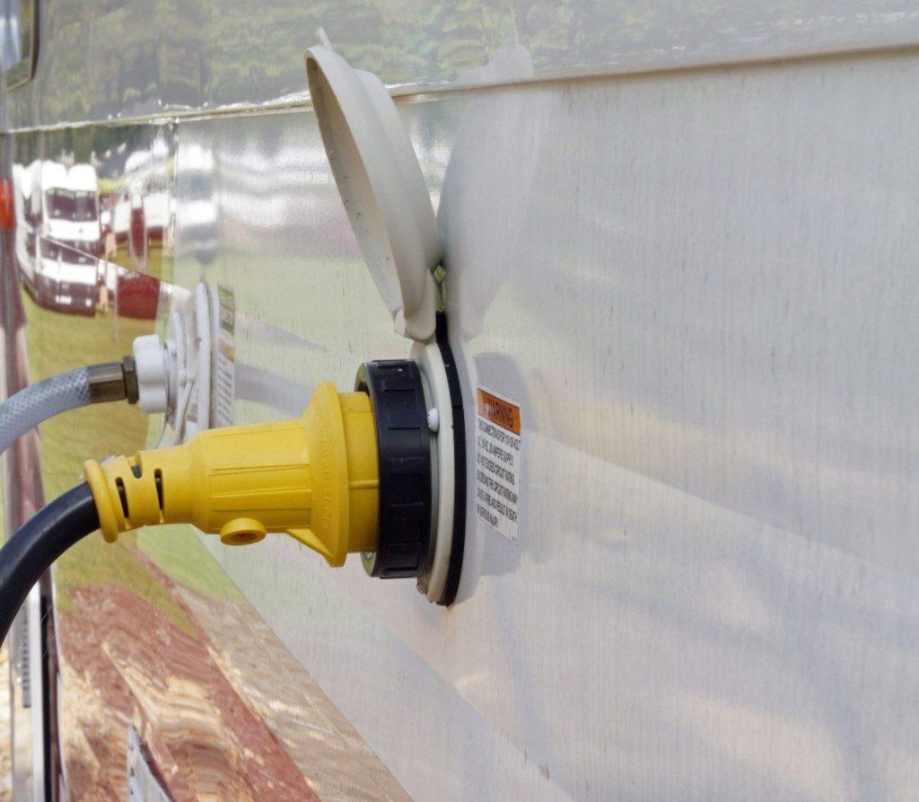 Close up image of RV water tank.