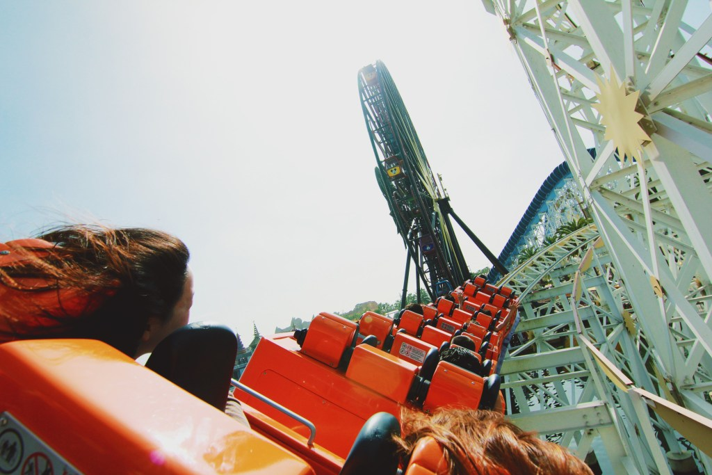Friends riding a rollercoaster at Disney.