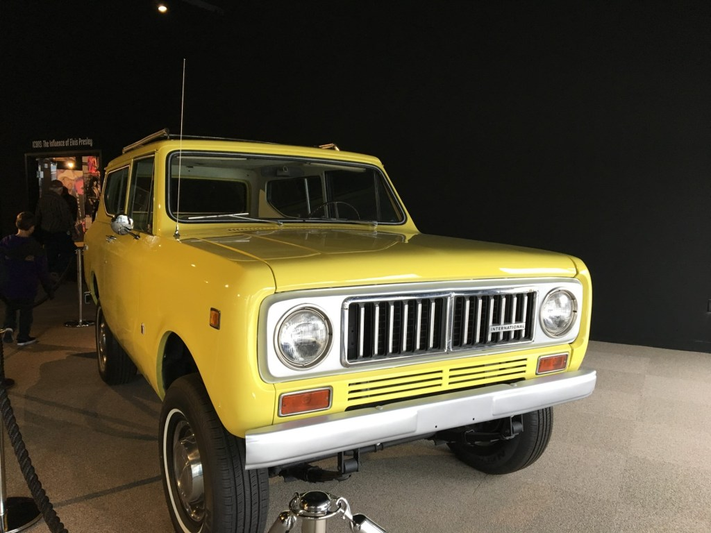 Yellow International Harvester Scout in a museum.