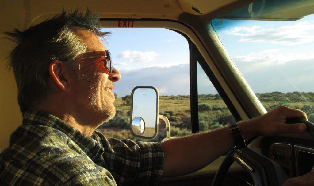 Man driving RV.