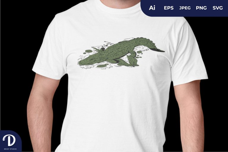 Crocodile in a Swamp for T-Shirt Design