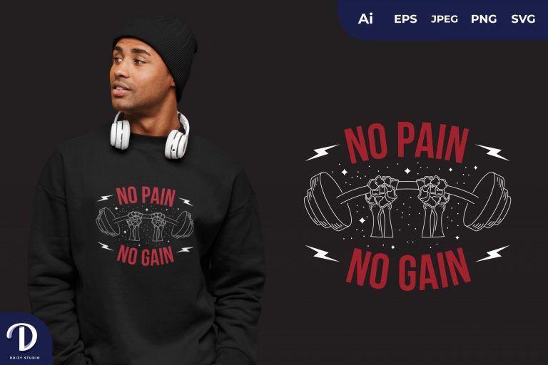 Red Dual Hand No Pain No Gain for T-Shirt Design