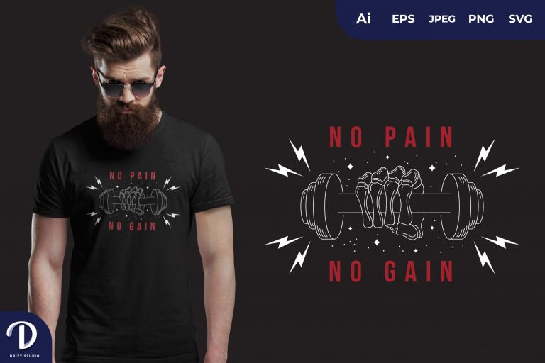 Red One Hand No Pain No Gain for T-Shirt Design