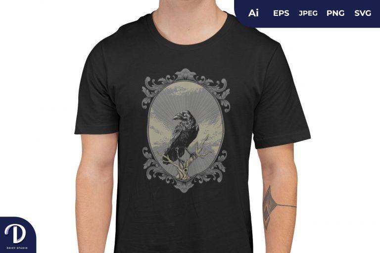 Raven on Ornamental Border Illustration for T-Shirt Design