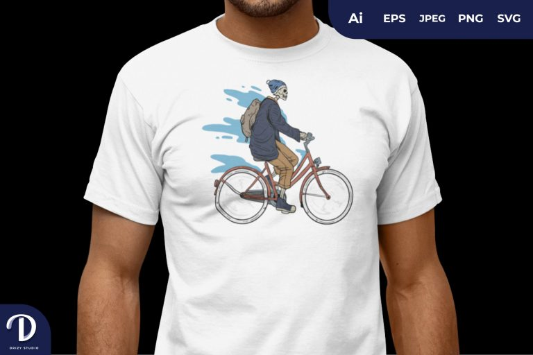 Blue Skull Ride The Bike for T-Shirt Design