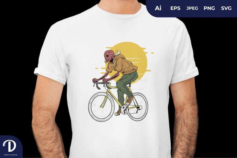 Yellow Skull Ride The Bike for T-Shirt Design