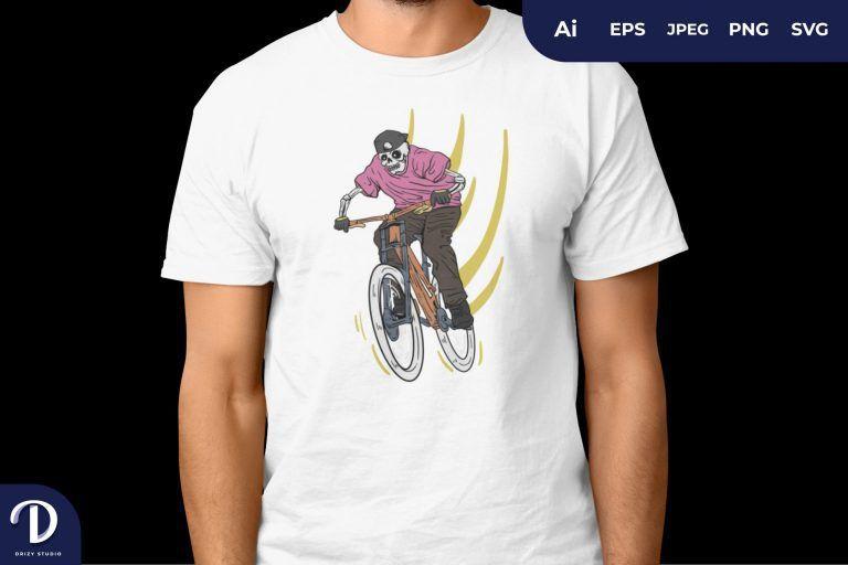 Pink Skull Ride The Bike for T-Shirt Design