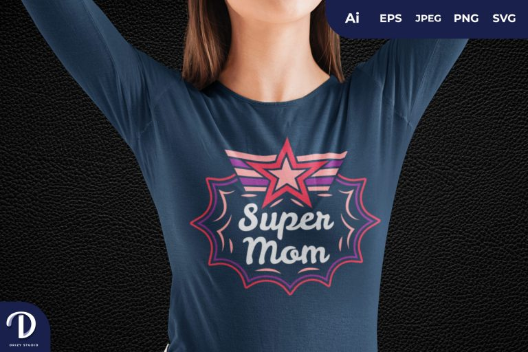 Preview image of Stars Super Mom for T-Shirt Design