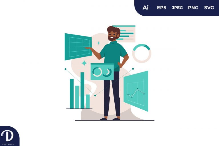 Beard Black Man Visual Data Concept Illustration