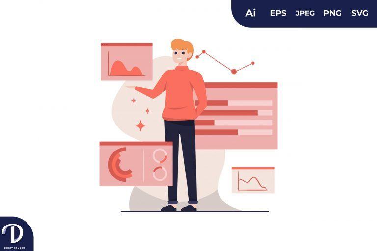 White Man Visual Data Concept Illustration