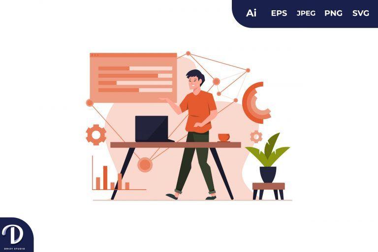 Asian Man Visual Data Concept Illustration
