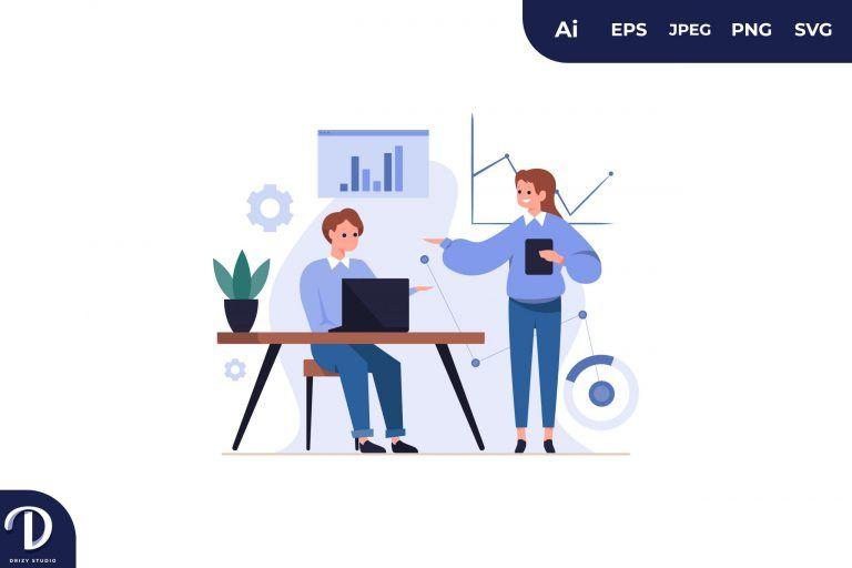Couple Visual Data Concept Illustration