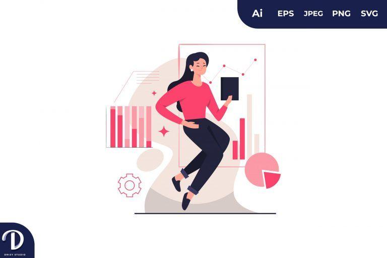 Asian Woman Visual Data Concept Illustration