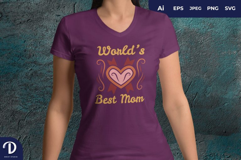 Heart World's Best Mom for T-Shirt Design
