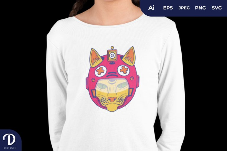 Preview image of Yellow Actions Cat for T-Shirt Design