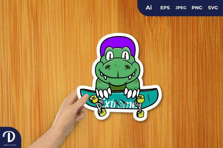 Crocodile Skateboy for Sticker