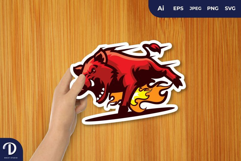 Angry Boar on Fire for Sticker