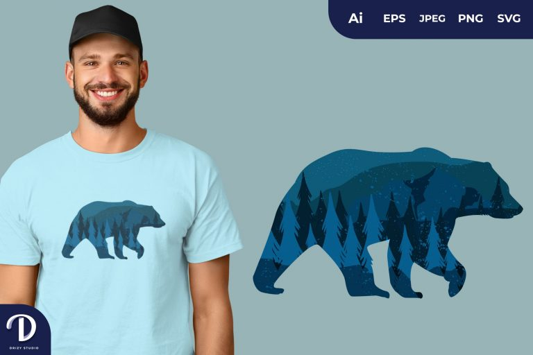Polar Bear Animal Silhouette With Beautiful Starry Night for T-Shirt Design