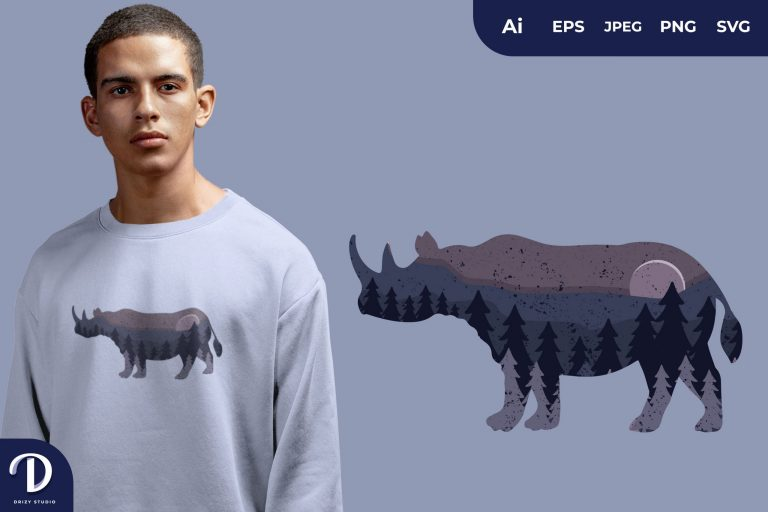 Rhino Animal Silhouette With Beautiful Starry Night for T-Shirt Design