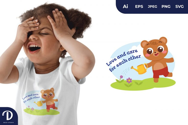 Brown Bear Animals Watering The Plants for T-Shirt Design