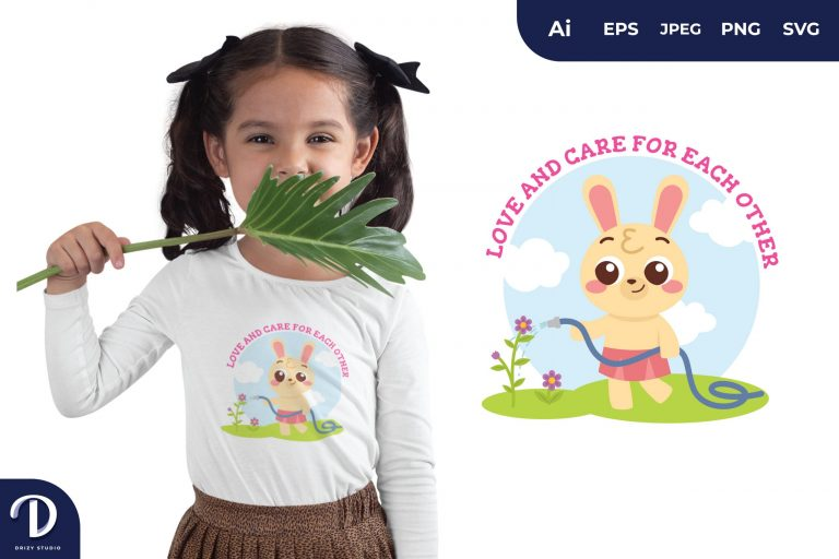 Rabbit Animals Watering The Plants for T-Shirt Design