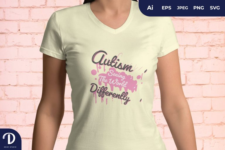 Pink Autism Seeing The World Differently for T-Shirt Design