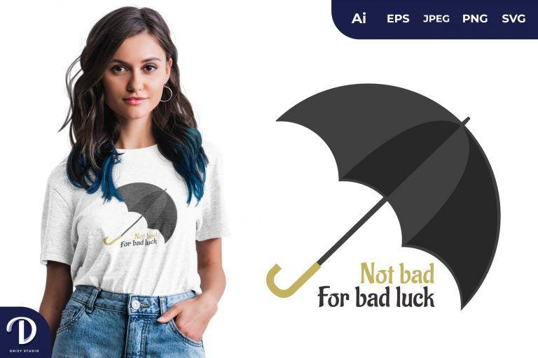 Black Umbrella Bad Luck Illustration for T-Shirt Design