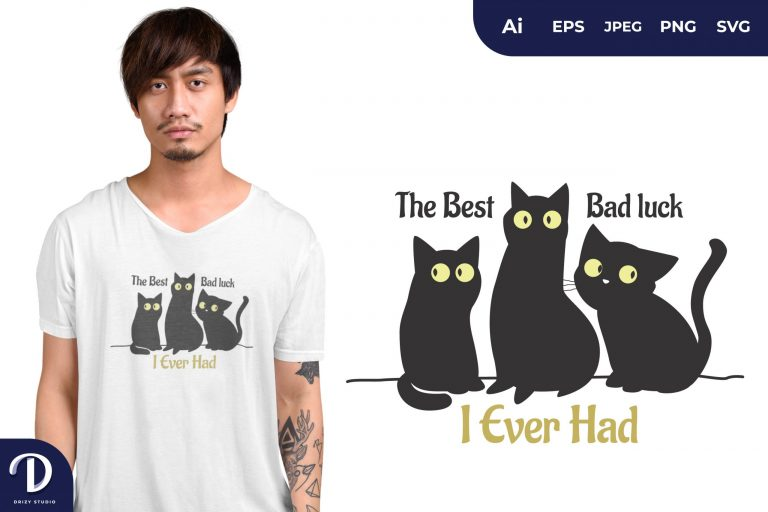 Black Cats Bad Luck Illustration for T-Shirt Design