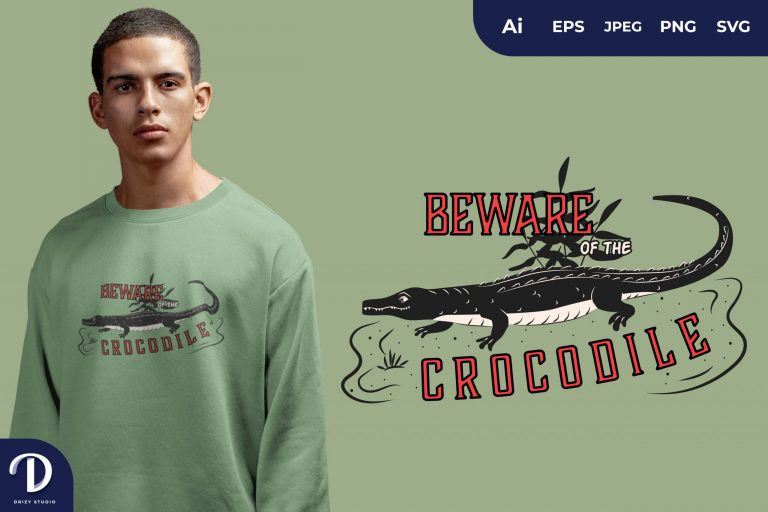 Preview image of Long Tail Beware Of The Crocodile for T-Shirt Design