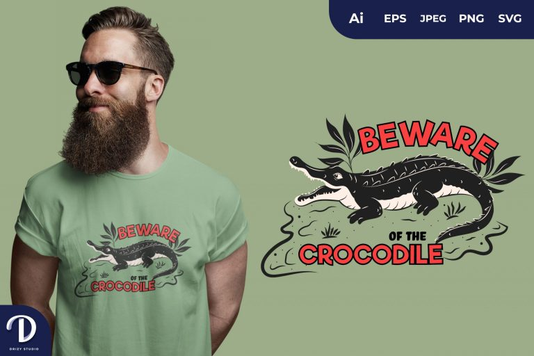 Mouth Open Beware Of The Crocodile for T-Shirt Design