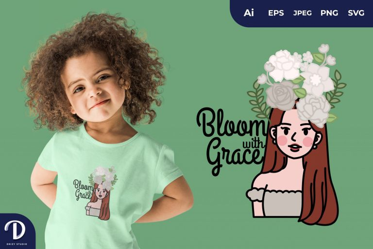 Preview image of Red Hair Girl Bloom With Grace for T-Shirt Design