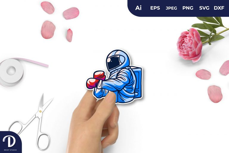 Preview image of Blue Boxing Astronaut For Sticker