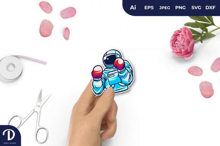 Light Blue Boxing Astronaut For Sticker