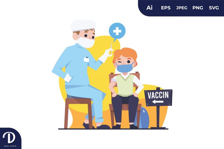 Preview image of Boy Get Vaccination Illustration