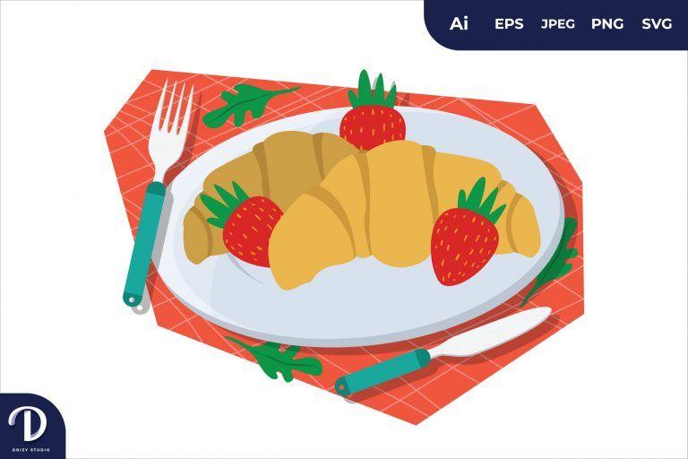 Croissant Breakfast Food Illustration