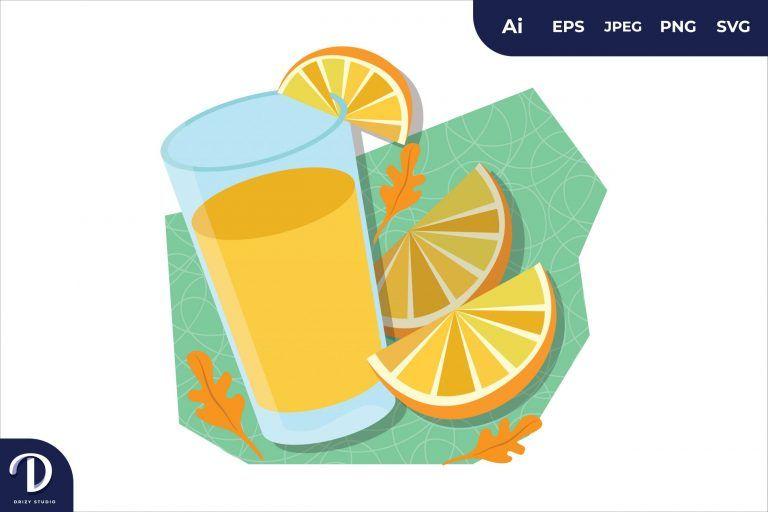 Orange Juice Breakfast Food Illustration