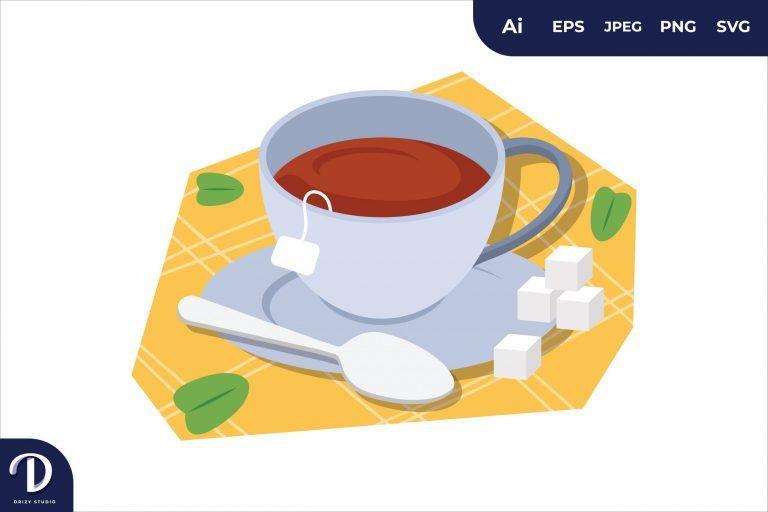 A Cup of Tea Breakfast Food Illustration