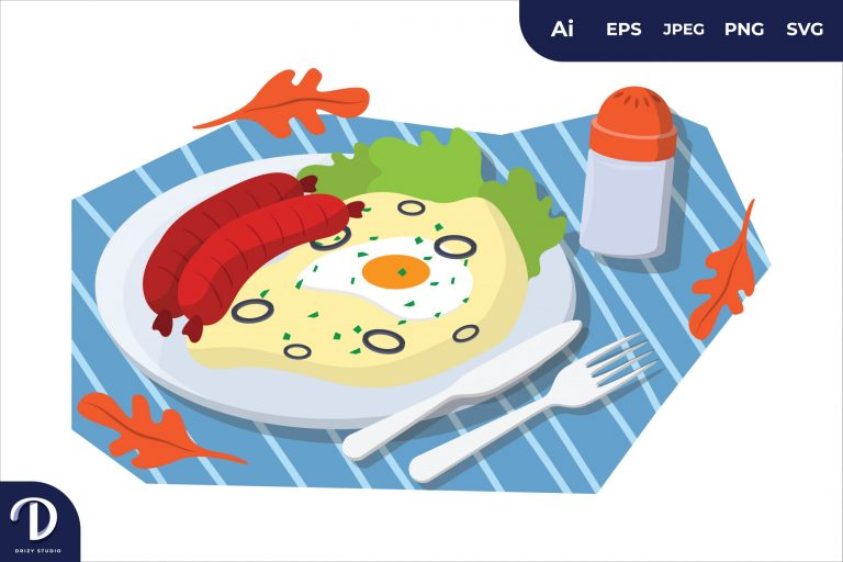 Fried Egg English Breakfast Food Illustration