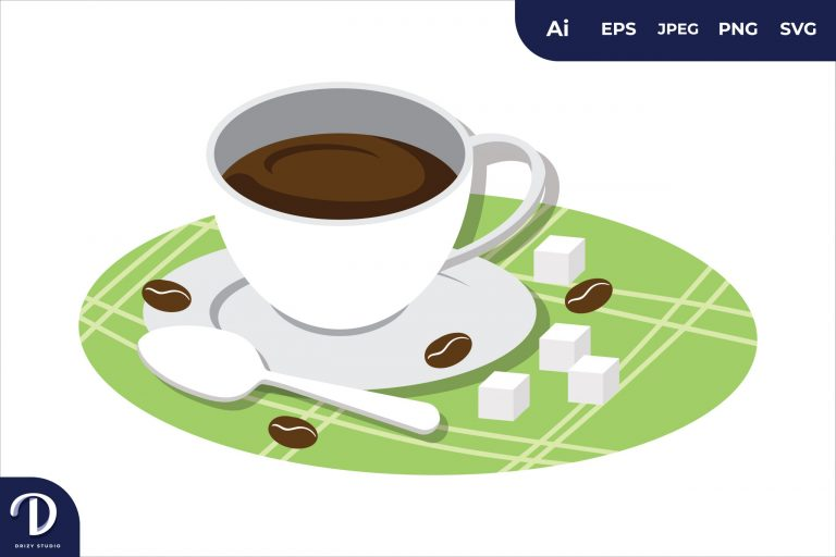 A Cup of Coffee Breakfast Food Illustration