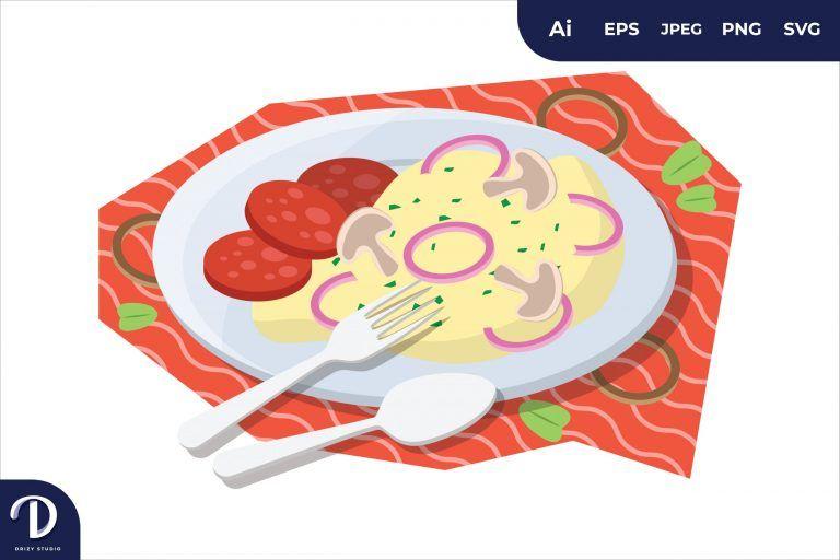 Preview image of Mushrooms on Toast Breakfast Food Illustration