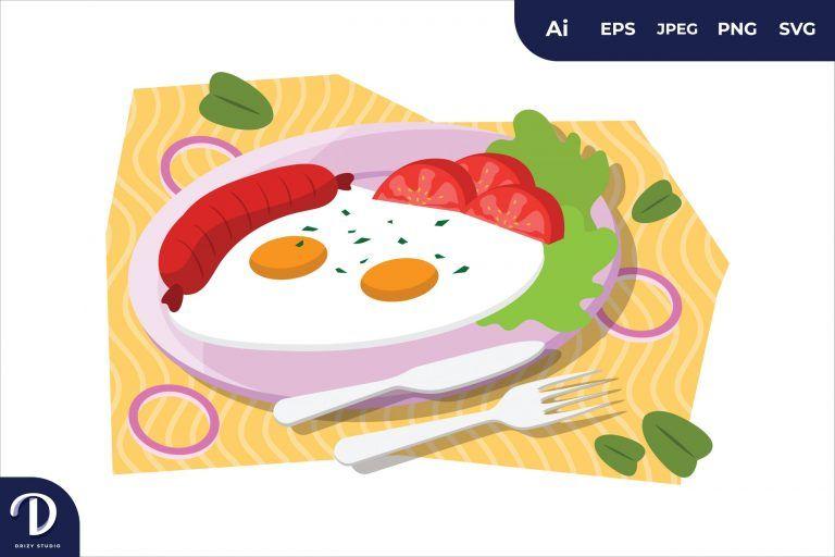Double Fried Egg English Breakfast Food Illustration