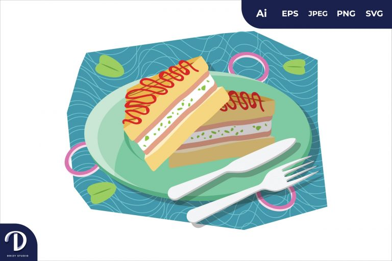 Triangle Sandwich Breakfast Food Illustration