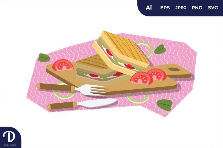 Sandwich Breakfast Food Illustration
