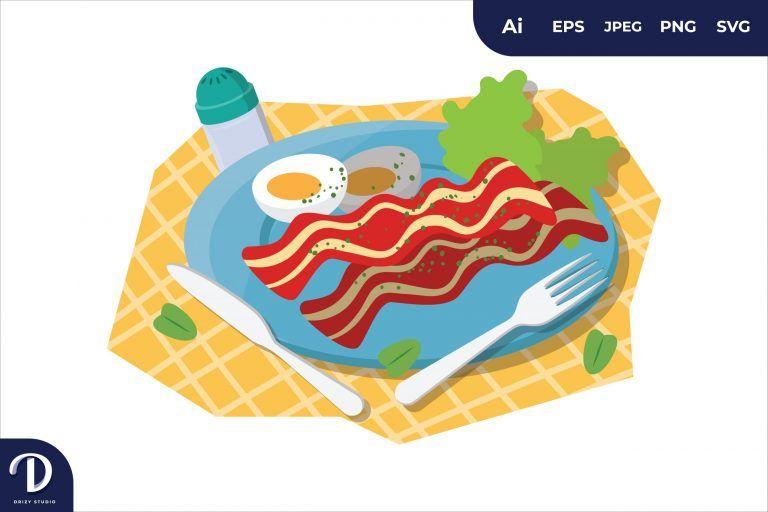 English Breakfast Food Illustration