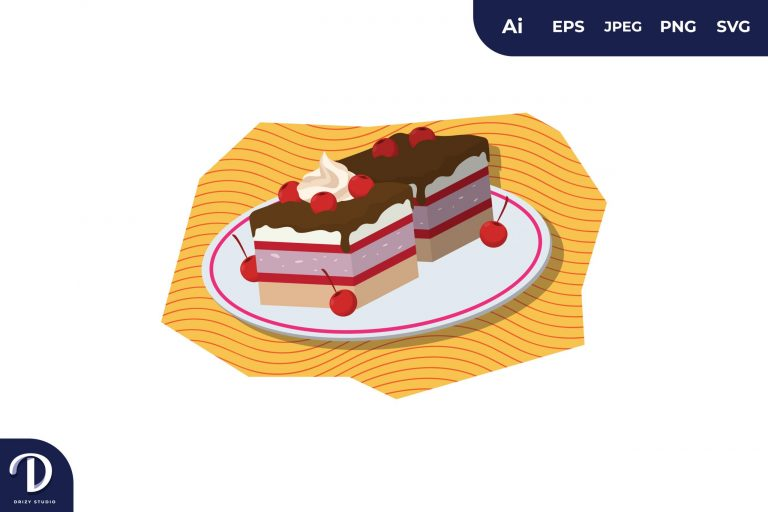 Red Cherry Cake Illustration