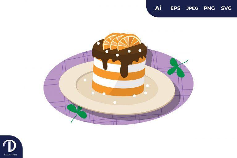 Orange Cake Illustration
